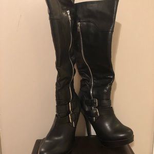 Shoes - Black motorcycle heeled boots